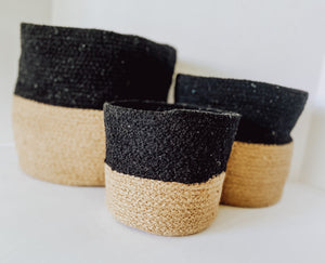 Black and Tweed Color Block Baskets