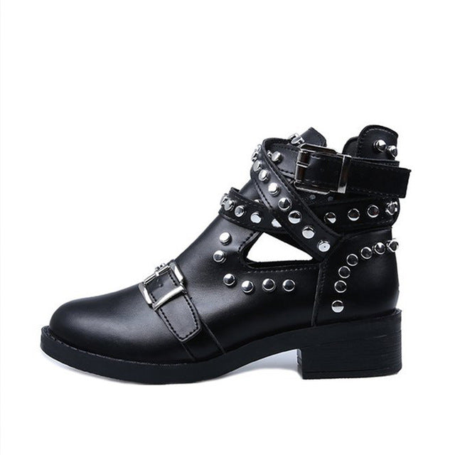 Rivets Studded Ankle Boots