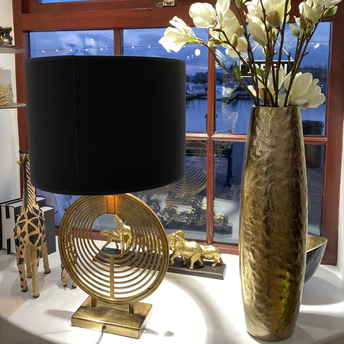 Iron Table Lamp and Drum Lamp Shades