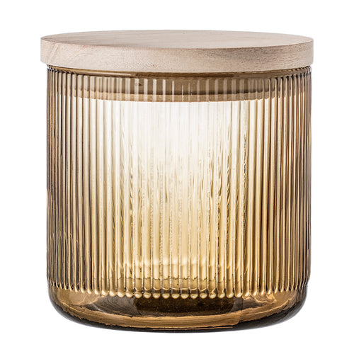 Brown Glass Jar With Lid - Small