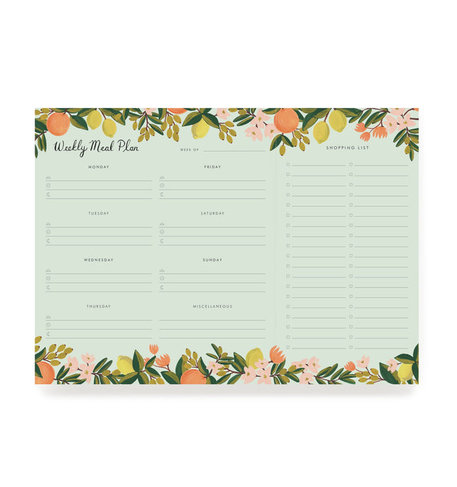 Citrus Floral Weekly Meal Planner Notepad
