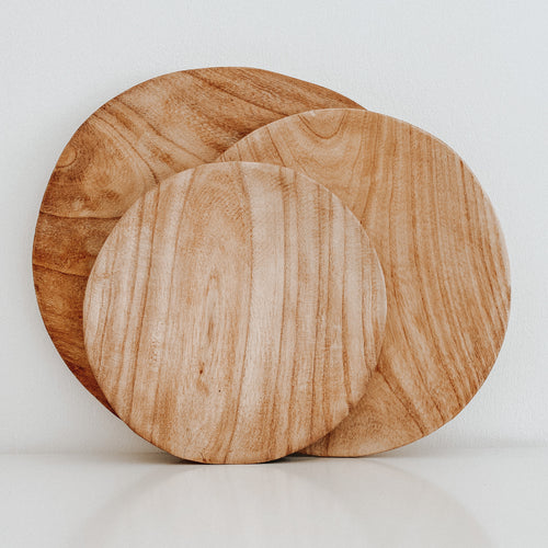 Round Wooden Plates (Set of 3)