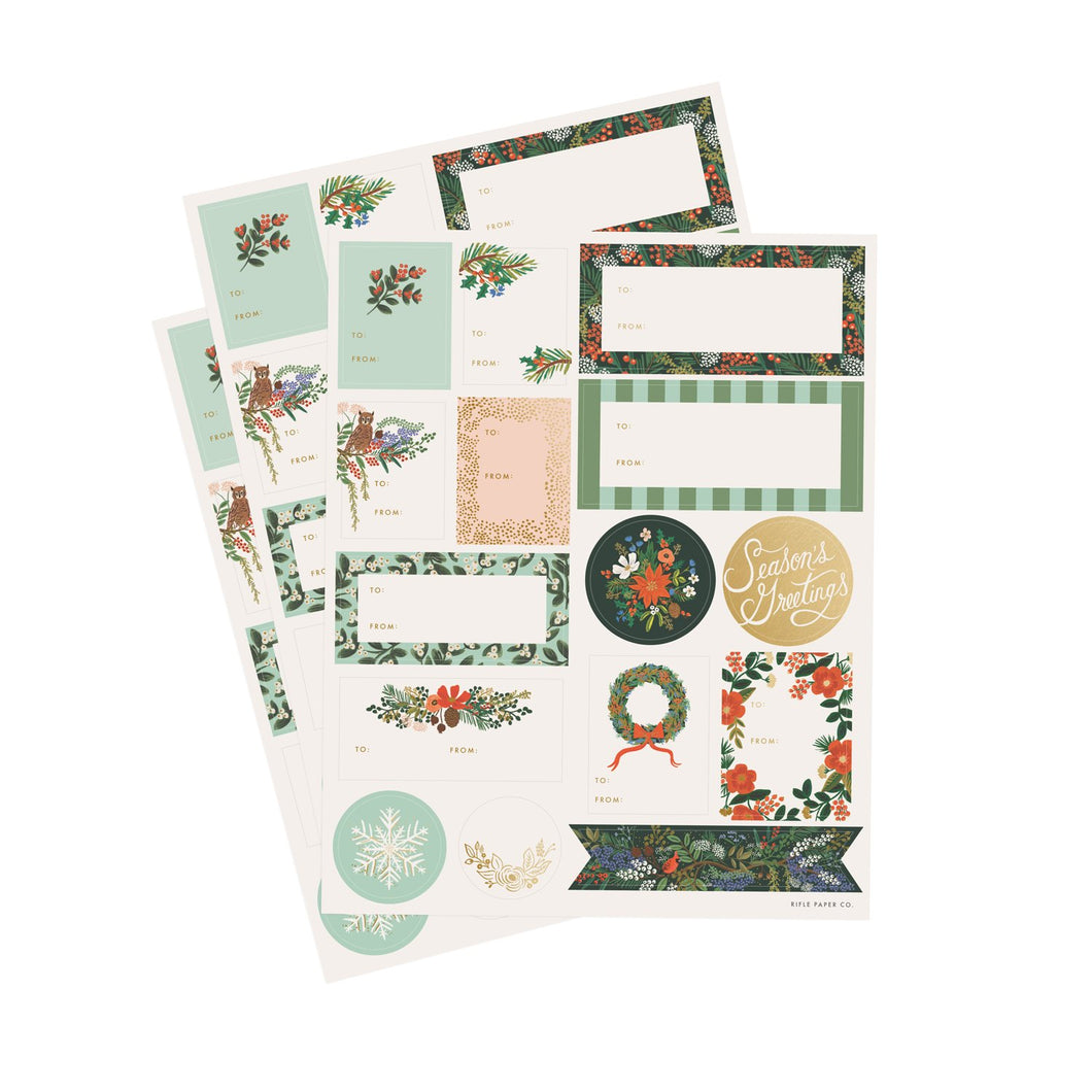 Winter Floral Christmas Sticker Set