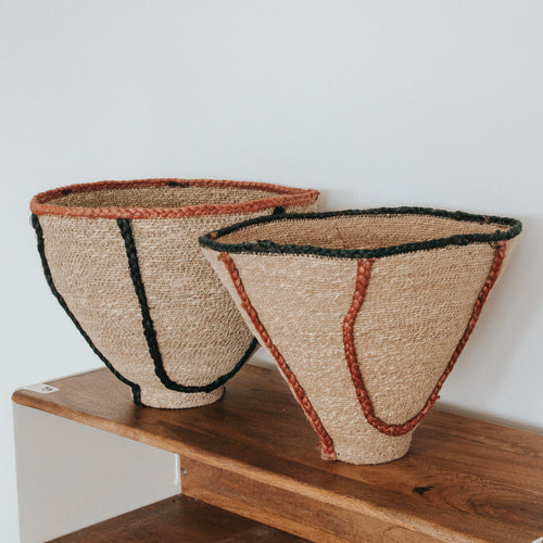 Natural Jute Baskets - (Set of 2)
