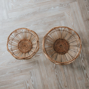 Round Rattan Baskets (Set of 2)