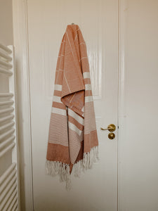 Striped Cotton Towel - Rust