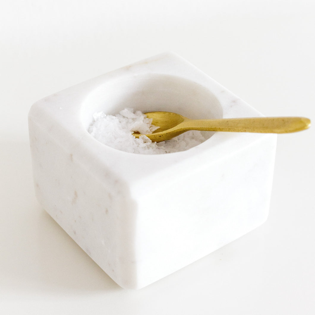 Marble Salt Dish with Spoon