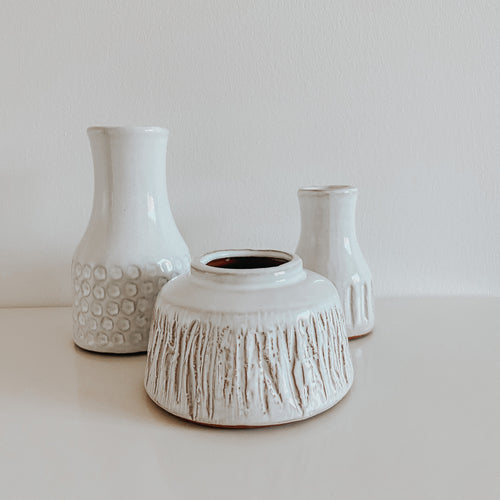 White Deco Vases - Set of 3