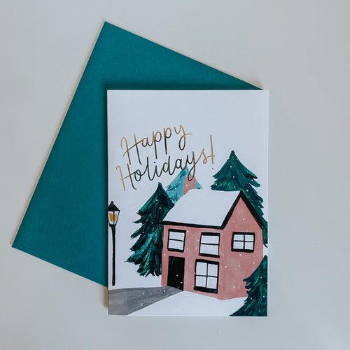 Snowy Cottage Illustrated Christmas Card
