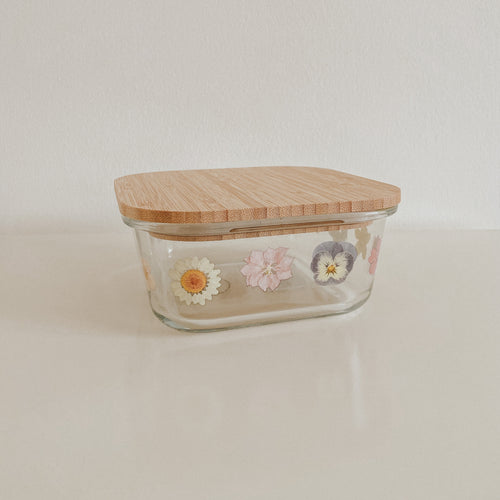 Sass & Belle Pressed Flower Glass Storage Box - Small