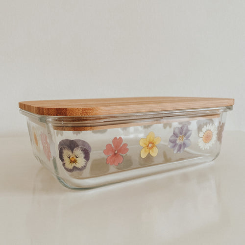 Sass & Belle Pressed Flower Glass Storage Box - Large