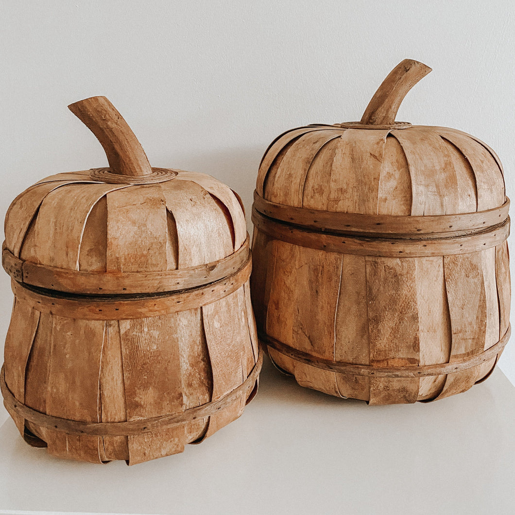 Pumpkin Lidded Rattan Baskets - Set of 2