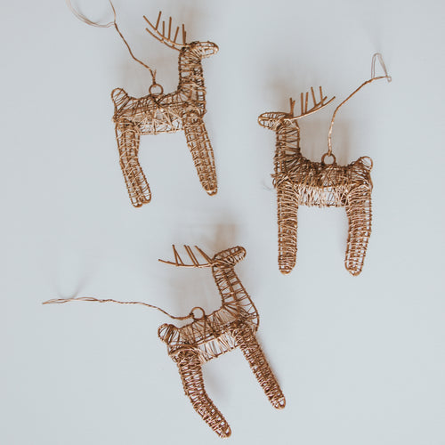 Brass Reindeer Decoration (Set of 3)