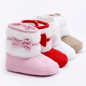 Bowknot Fleece Snow Boots - Berry Scotch