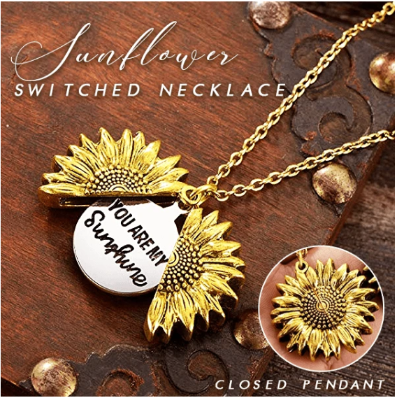 You Are My Sunshine Sunflower Necklace - Berry Scotch
