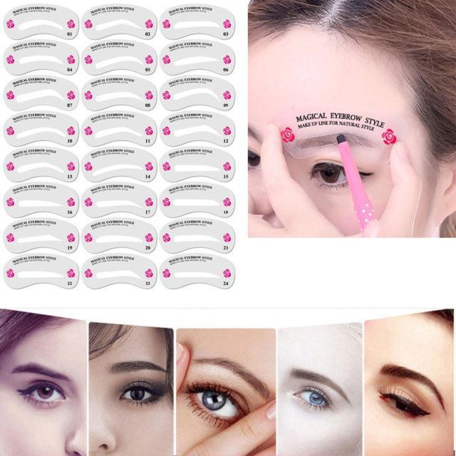 24 Styles Magical Eyebrow Shaper Stencils - Berry Scotch