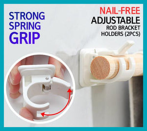 Nail-free Adjustable Rod Bracket Holders - Berry Scotch