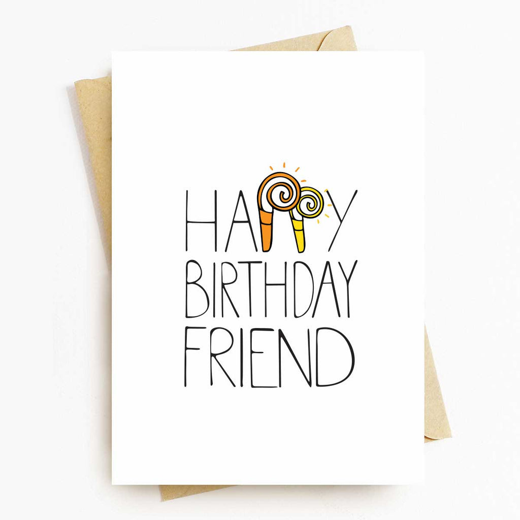 Happy Birthday Friend with Horn Greeting Card
