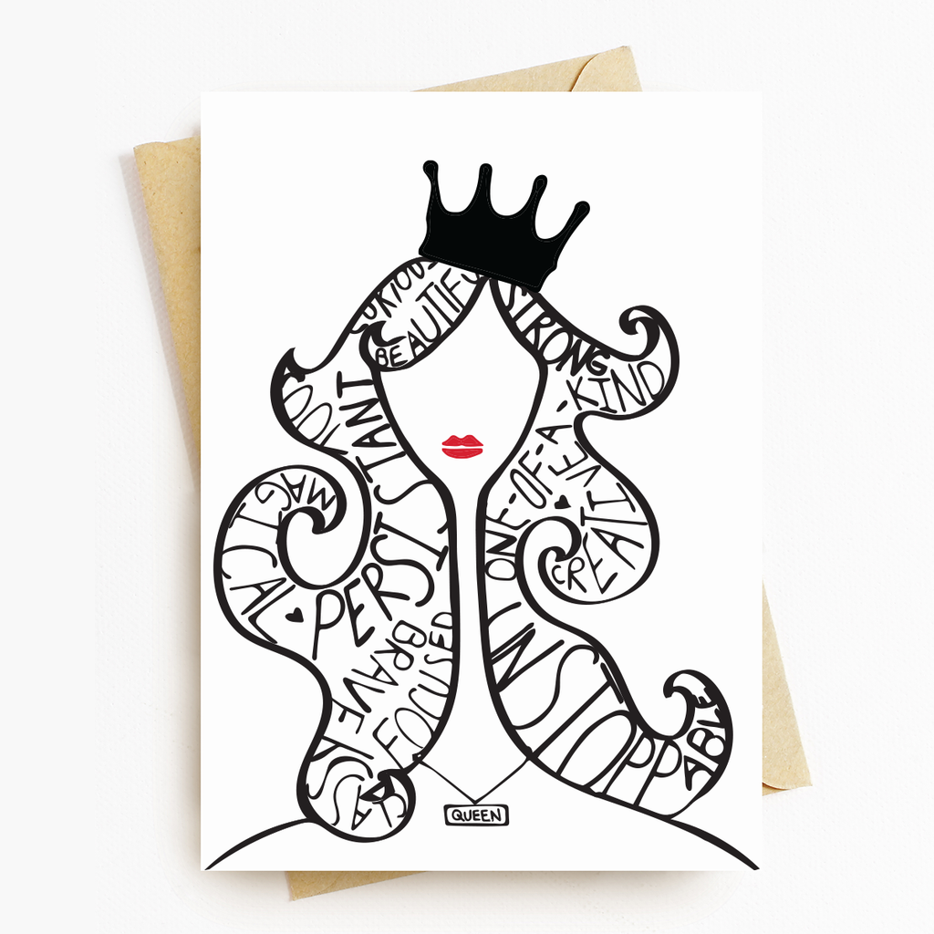"""Queen Lady"" Motivational Greeting Card"