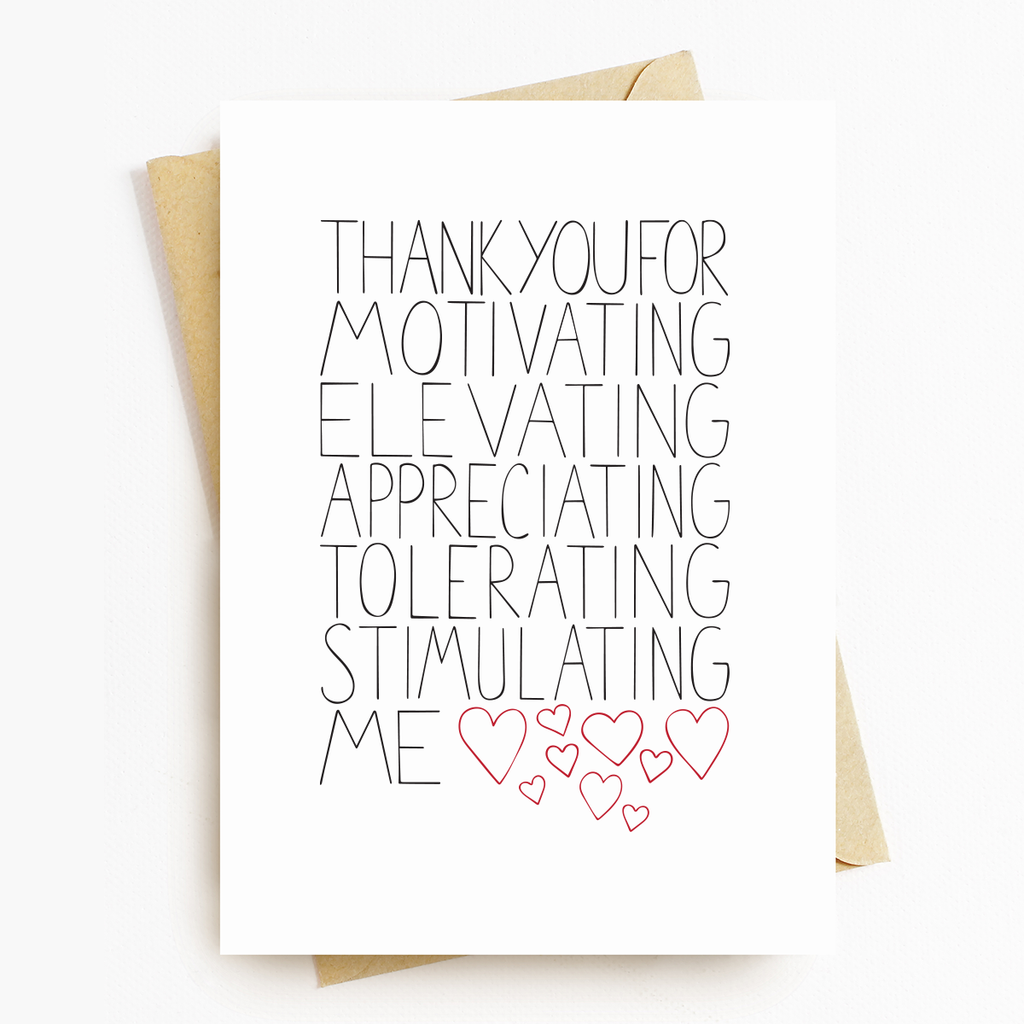 """Thank You For"" Motivational Greeting Card"