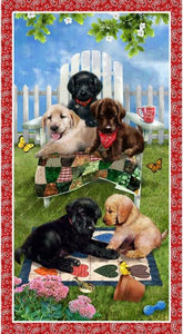 Pups in the Garden Banner - Red - PANEL