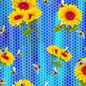Sunflowers On Blue Honeycomb