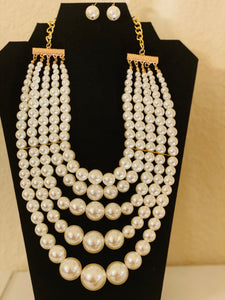 5 Strand large Pearl Set