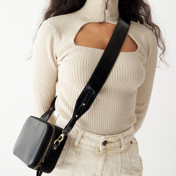 Adjustable Wide Shoulder Strap  Black Glossy