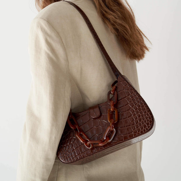 Non-adjustable Shoulder Bone Strap Caramel Croc
