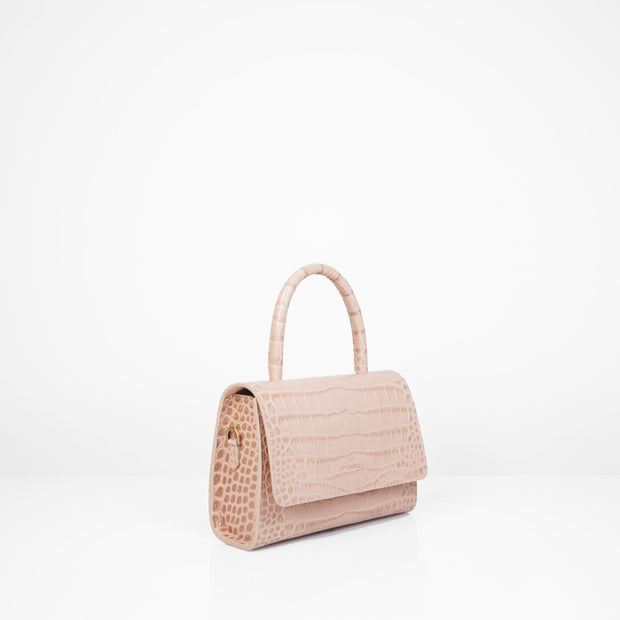 Almond Bag Mini Nude Croc