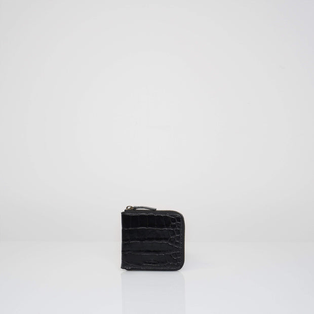 Wallet Black Croc Mat