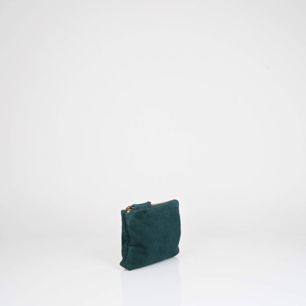 Bottle Green Suede Pouch