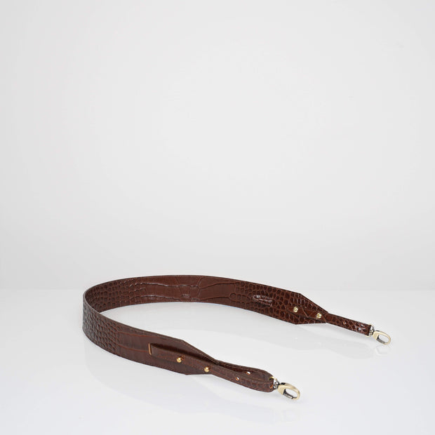 Adjustable Wide Shoulder Strap Caramel Croc