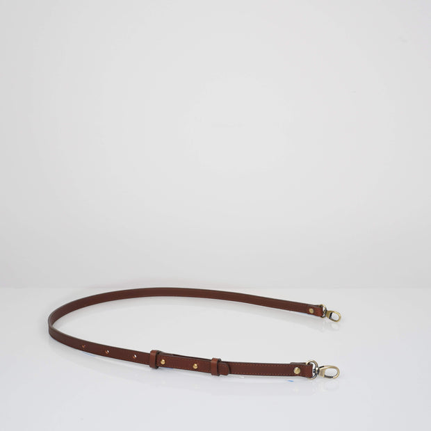 Narrow Adjustable Leather Strap Classic Brown