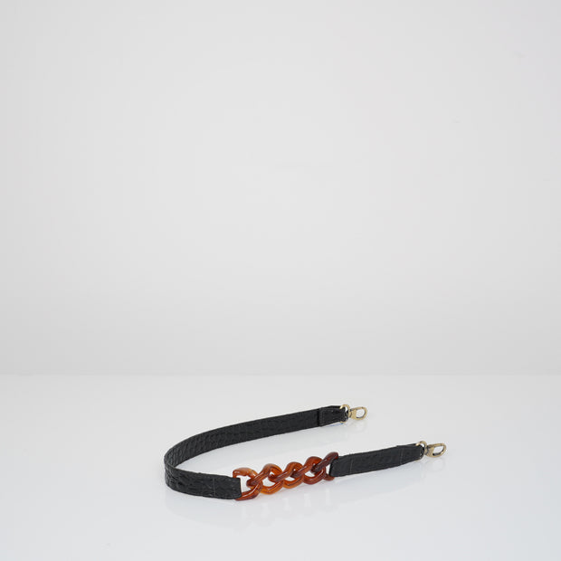 Shoulder Strap x Chain Black Croc Mat
