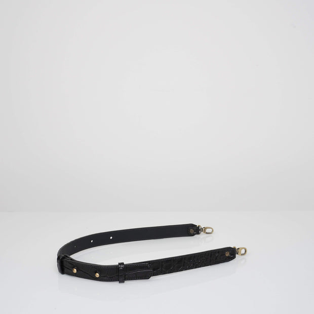Waist Adjustable Belt Black Croc Mat