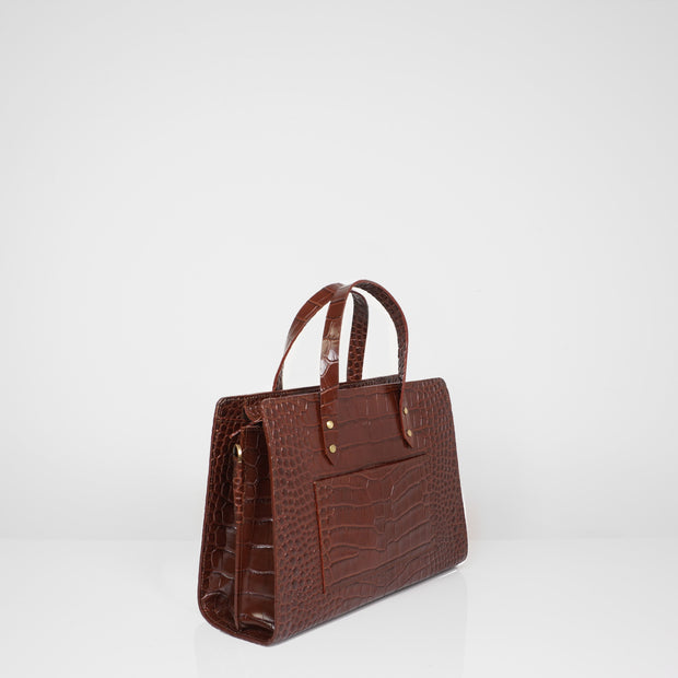 Laptop Bag Mini Caramel Croc
