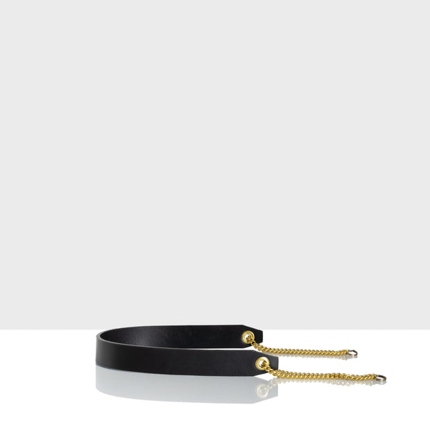 Leather Handle With Chain Classic Black