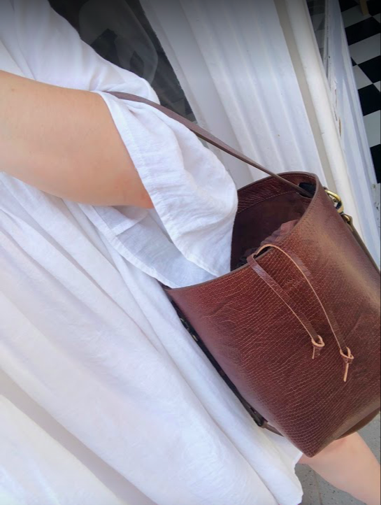 Bucket Bag Mini Brown Lizard