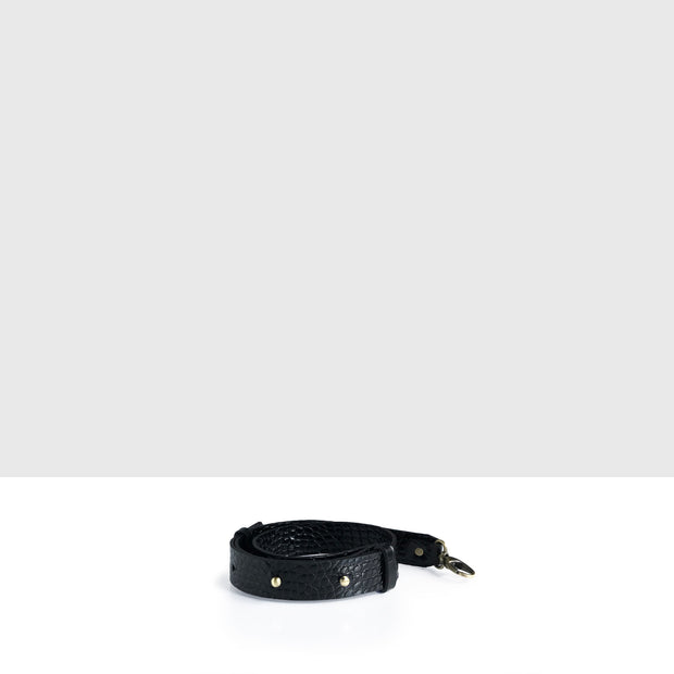 Waist Adjustable Belt  Black Croc Glossy