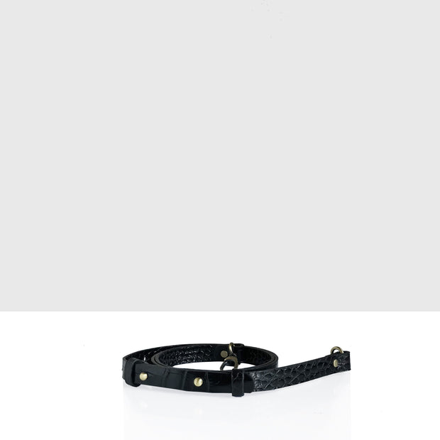 Narrow Adjustable Leather Strap Black Croc Glossy