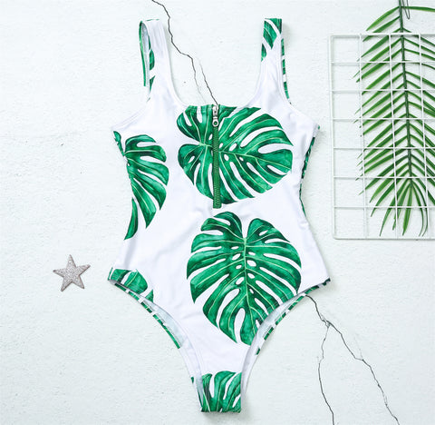Green Tropical Printed Zipper Swimwear - LaShayAsante Beauty