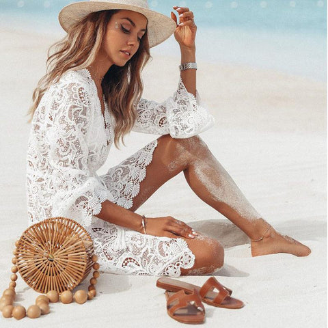 Lace Hollow Crochet Cover-Ups Tunic Beach Dress - LaShayAsante Beauty