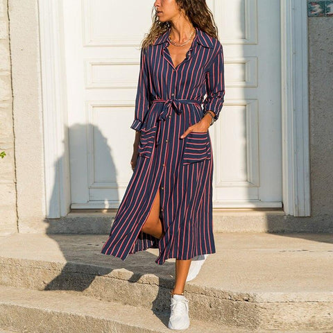 Striped Midi Dress Summer Turn Down Collar Casual - LaShayAsante Beauty