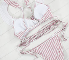 Striped print Bathing Suit Brazilian - LaShayAsante Beauty