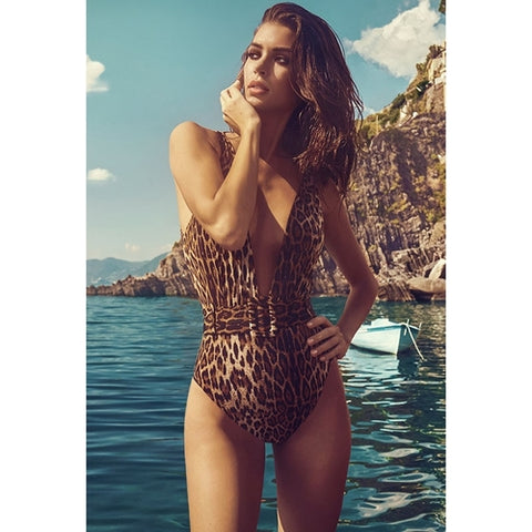 Sexy Solid Deep-V Swimwear Summer Bathing Suit - LaShayAsante Beauty