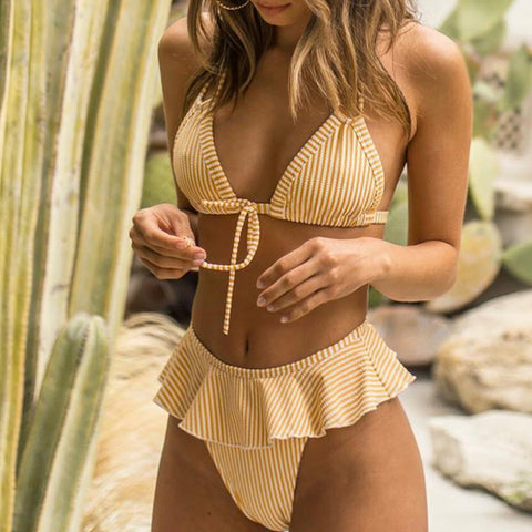 Striped Ruffle Push up Bikini - LaShayAsante Beauty