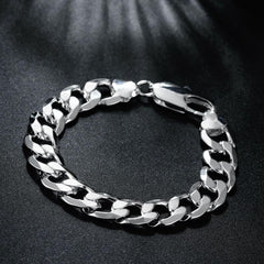 Cuban Figaro Men's Bracelet in 14K White Gold - LaShayAsante Beauty