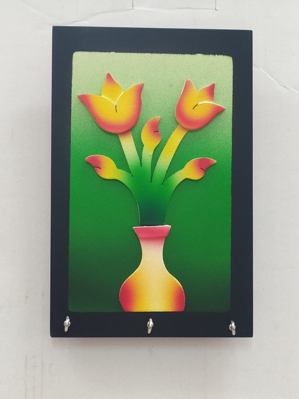 Buy Wooden Key Hanger With Flower Pot Design (AK99)Online
