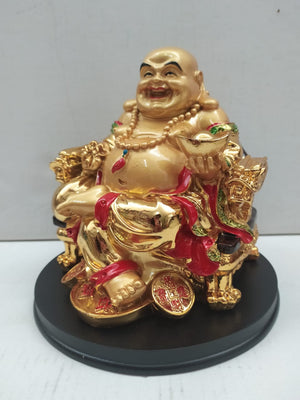 Buy Gold Colour Laughing Budha For Wealth And Good Luck (CT123) Online